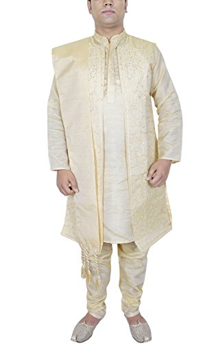 Mens Kurta Pajama Sherwani Stole Fashion Indian Sherwani 4-Pieces Set Golden Ethnic Pyjama Set -M