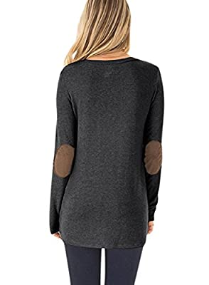 NICIAS Womens Side Buttons Long Sleeve Casual Crew Neck Elbow Patched Sweatshirt Loose T Shirt Blouses Tops