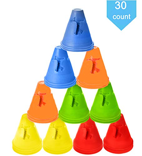 TOCO FREIDO Windproof Training Cones for Ultimate Soccer Football Training and Drills End Zone Markers, Soccer Goals and Skating Practice (30 Pack) (Style-2) ()