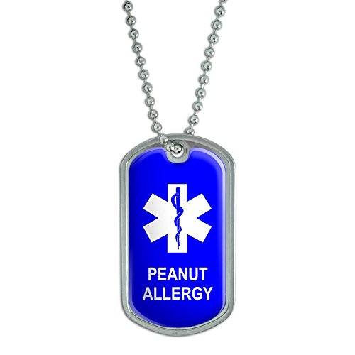 (Graphics and More Peanut Allergy - Military Dog Tag Keychain)