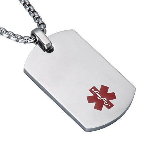 LiFashion LF Free Engraving Stainless Steel Medical Alert Dog Tag ID Pendant Custom Name ICE Sos Caduceus Necklace for Men Women Teens Health Alert Monitoring Systems