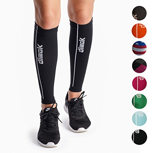 dimok Calf Compression Sleeves – Compression Socks Footless – Reduces Fatigue Varicose Veins Muscle Pain Cramps Shin Splints, Provides Fast Recovery (Black, S/M)