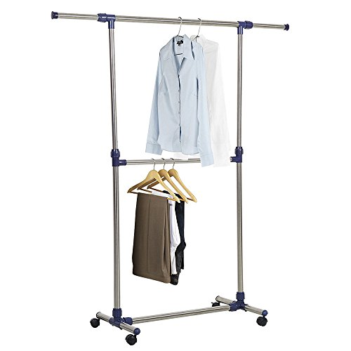 Dporticus Free Standing Adjustable Clothes Racks Single Rail Garment Rack for Hanging Drying Clothes with Wheels