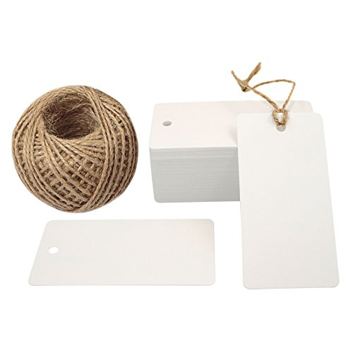 Valentine Gift Tags,100 PCS White Kraft Paper Gift Tag with 100 Feet Jute Twine String, Rectangle Christmas Gift Tags 3.5'' x 1.7'' ()