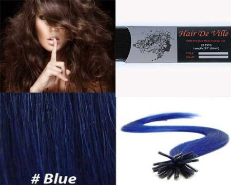 25 Strands Straight Micro Ring Links Locks Beads Keratin Stick I Tip Human Hair Extensions Color # Blue (Hair Human Sleek Extensions)