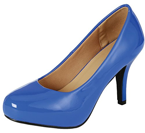 Cambridge Select Women's Classic Round Toe Mid Heel Dress Pump (8 B(M) US, Blue -