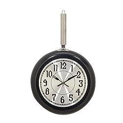 Deco 79 98437 Black Iron Wall Clock, Black/Silver