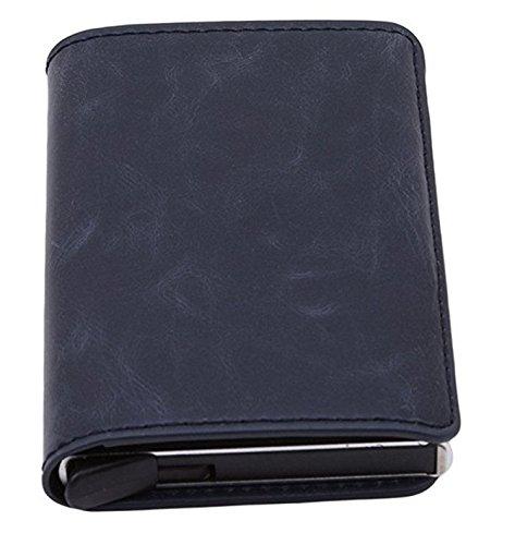 L_shop Naivety Unisex Kartenhalter Legierung PU Leder ID Kreditkarten Protector Geldbörse Mini Wallet, schwarz, 10 * 6,5 * 1,5 cm Dunkelblau