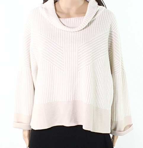 Ming Wang Ivory Blush Womens Large Petite Cowl Neck Sweater White Ivory (Wang Cowl)
