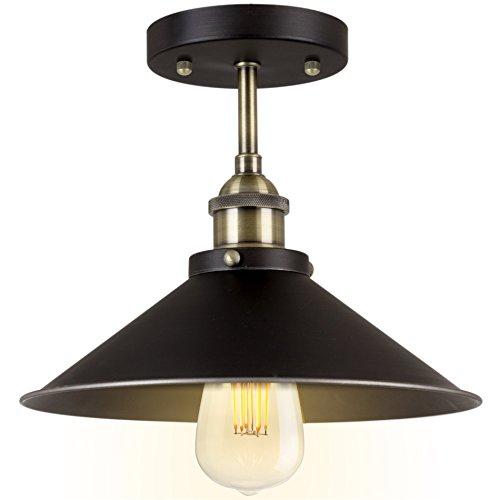 Kira Home Indie 10'' Industrial Semi Flush Mount Ceiling Light, Brushed Black Finish by Kira Home