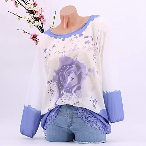 manches imprime LiShihuan dentelle en fleurs Blue dentelle en longues Chemise UxwZqawTH