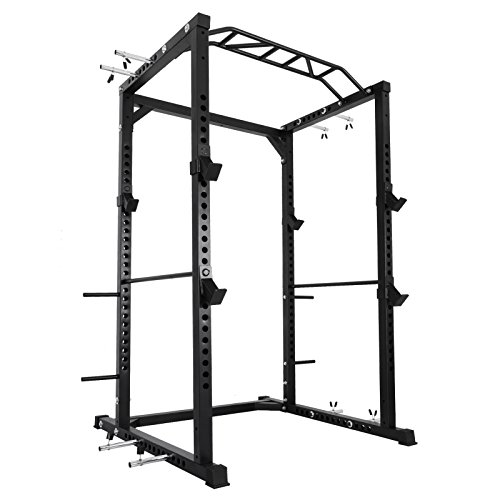 Happybuy Multi-Grip Chin-Up Fitness Power Rock Power Racks Weightlifting Power Rack Olympic Squat Cage Power Rack Cage System with Adjustable Bar for Home Gym - Weight Cages Racks