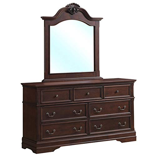(Giantex Wood Dresser Chest 7 Drawers with Mirror Set Standard Furniture Storage Organizer Unit for Bedroom, Hallway, Entryway, Brown (Luxury Design, Drawers Dresser Mirror Set))