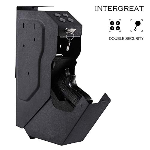 INTERGREAT Gun Security Box Gun Vault Handgun Safe Shelf-Mountable Gun Safe with Digital Key & 2 Emergency Key