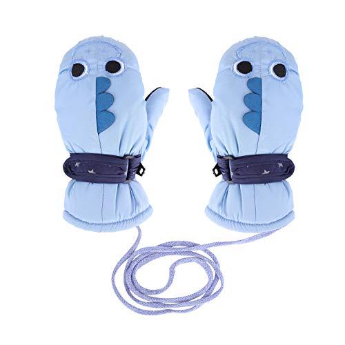 Toddler Kids Child's Winter Ski Mittens with String Waterproof Anti Skid Plush Fleece lined Cartoon Animal Gloves for Girls Boys 3-10 Years (Light Blue Ski Mittens Gloves) (Skids Ski Gloves)