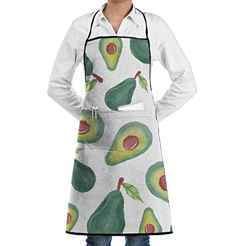 LOGENLIKE Avocado Pattern Kitchen Aprons, Adjustable Classic Barbecue Apron Baker Restaurant Black Bib Apron With Pockets For Men And Women
