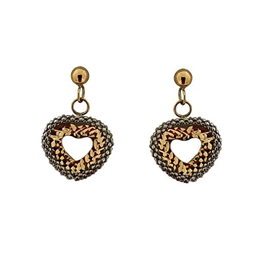 18Kt Dangle Two tone open heart post earrings(0.60x 0.40 Inch) by Amalia