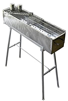 """Party Griller 32"""" Stainless Steel Charcoal Grill – Portable BBQ Grill, Yakitori Grill, Kebab Grill, Satay Grill. Makes Juicy Shish Kebab, Shashlik, Spiedini on the Skewer"""