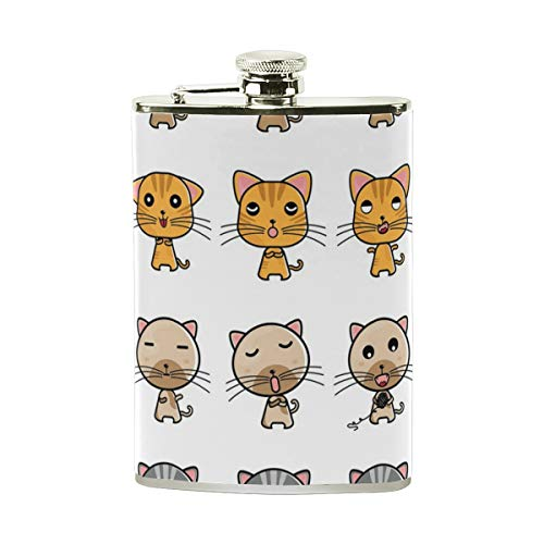 e81dc66e88f6 HU MOVR Flask Collection of Cat Expressions Womens Hip Flask Stainless  Steel Leakproof Flagon Mens Pocket Flasks Drinking of Alcohol, Whiskey,  Liquor, ...