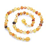 Genuine Amber - Baby Unisex Teething Necklace - 12.6 Inches - Mixed Colors - 100% Natural Baltic Amber Raw Not Polished Beads - Natural Pain Relief - Knotted Between Beads - With Plastic Screw Clasp