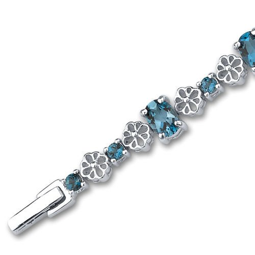 10.25 Carats London Blue Topaz Bracelet Sterling Silver Rhodium Nickel Finish