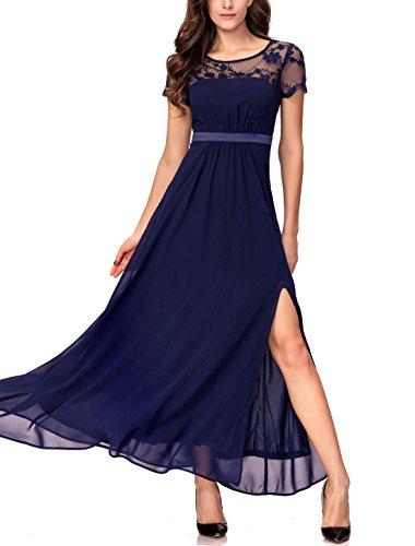 Noctflos Chiffon Split Formal Party Dress for Women Evening Empire Waist Maxi, Royal Blue, Large (Chiffon Empire Waist Prom Dress)
