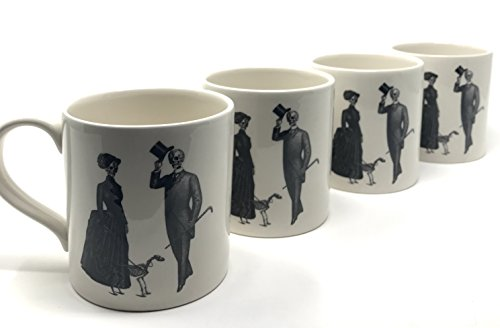 Four (4)-Piece Halloween 'Strolling Victorian Ladies, Gentleman and Dog' Skelton Porcelain Ceramic Coffee / Tea Mugs (Grecian Dessert)
