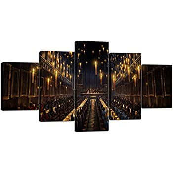 Yatsen Bridge 5 Piece The Subject of Harry Potter and The Goblet of Fire Wall Art Magic School Painting Prints On Canvas Artwork for Wall The Picture for Home Decor Ready to Hang(60''W x32''H)