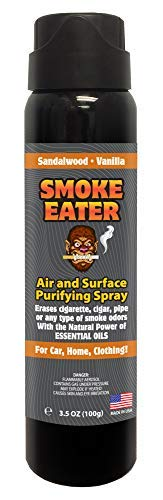 Smoke Eater - Breaks Down Smoke Odor at The Molecular Level - Eliminates Cigarette, Cigar or Pot Smoke On Clothes, in Cars, Homes, and Office - 3.5 oz Travel Spray Bottle (Sandalwood Vanilla AEROSOL)