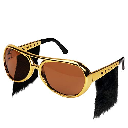 Ocean Line Elvis Sunglasses with Side Burns - Funny Rockstar Costume Aviator Glasses with Wigs, Fun Gold 70s Disco ()
