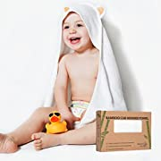 Bamboo Hooded Towel | Made from Organic Bamboo | Extra Soft & Quickly Dries Babies Sensitive Skin | Best Baby Shower Gift for Girl, Boy or Newborn | Premium Bath Towels with a Cute Animal Hood