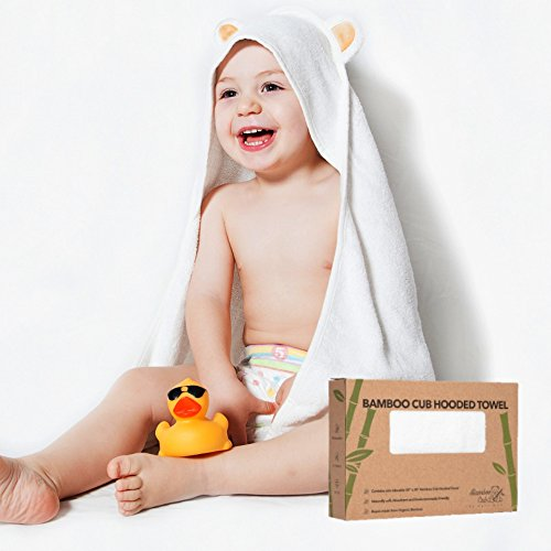 Bamboo Hooded Towel | Extra Soft Organic Bamboo Quickly Dries Babies Sensitive Skin | Best Baby Shower Gift for Girl or Boy, Sized Newborn to Infant | Premium Bath Towels with a Cute Animal Hood