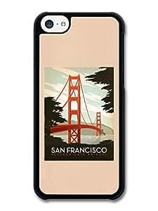 MMZ DIY PHONE CASECool Retro San Francisco Golden Gate Bridge Vintage Classic Poster case for ipod touch 5