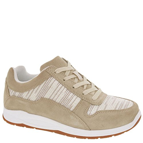 Drew Shoe Womens Tuscany Walking Leather, Rubber Casual Sneakers Cream/Combo