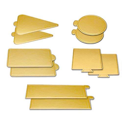 Mini cuadrado de cartón dorado para decoración de tartas, 100 platos de papel para tartas, base de postre, a prueba de grasa y congelador, duradero, ...