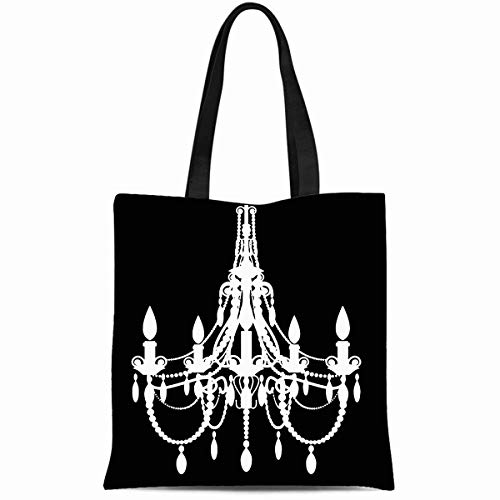 Ahawoso Canvas Tote Bag 14x16 Inches Vintage Chandelier Classic Black Durable Reusable Custom Shopping Shoulder Grocery -
