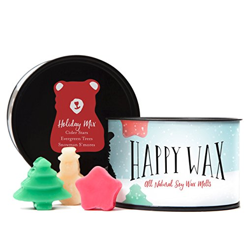 Happy Wax- Holiday Mix Wax Melts - Scented Soy Wax Melts in Fun Unique Shapes! - 3.6 Oz. Tin - Over 100 Hours of Christmas Scents! [Evergreen Trees, Cider Stars, Snowman S'Mores] ()