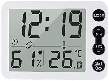 Goliraya Digitales Innenthermometer und Hygrometer mit Uhr-LCD-Anzeige ℃ / ℉ Wählbarer Countdown-Timer Genaue Temperatur-Feuchtigkeits-Überwachung für das Home Office