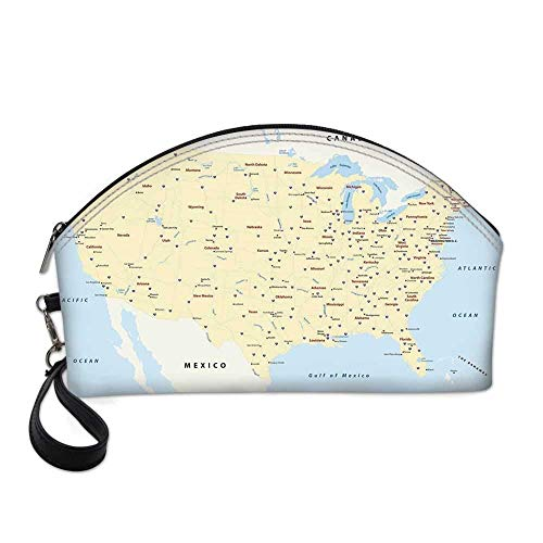 Map Small Portable Cosmetic Bag,United States Interstate Map America Cities Travel Destinations Road Route Decorative For Women,Half Moon Shell Shape One size