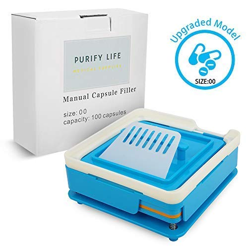 Capsule Filling Machine Kit Size 00# Empty Oil Liquid Pill Filler Medical Device Tool for Holding Vegetable Capsules in Place No Spill Or Mess - Easy to Use at Home Clinic Office (Blue)