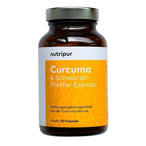 Nutripur Curcuma Kapseln mit Piperin Bioperin - 90x vegane Kapseln aus Kurkuma Pulver und schwarzem Pfeffer Extrakt
