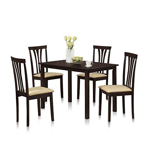FURINNO Franklin 5Piece Solid Wood Dining Set, Espresso