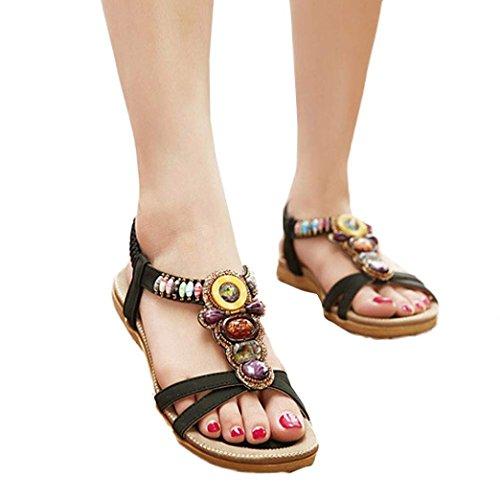 Start Dames Zomer Bohemen Kleurrijke Kralen Sandalen Schoenen Zwart