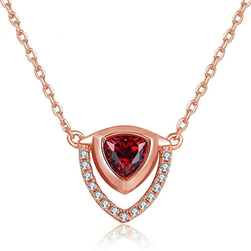 (QMM Pearl necklace Pendant Triangle Shape 100% Natural Red Garnet Gemstone 925 Sterling Silver Jewelry Pendant Necklace for Women)