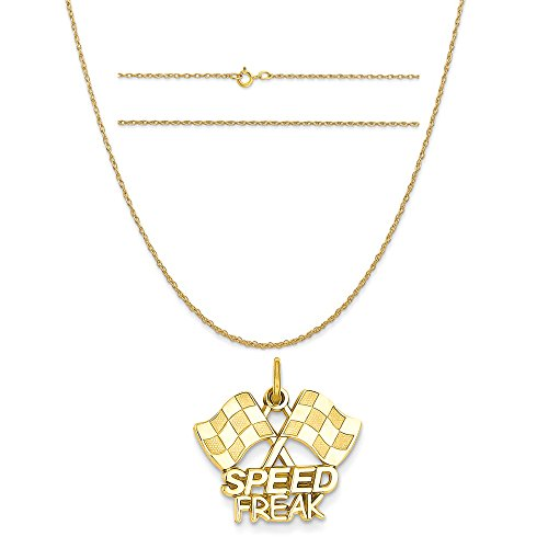 14k Yellow Gold Racing Flags with Speed Freak Charm on 14K Yellow Gold Rope Chain Necklace, 16