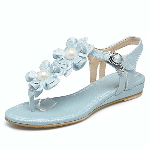 Aisun Women's Bohemian Flower Clip Toe Buckled Low Heels WedgeThong Sandals Flip Flop Beach Shoes