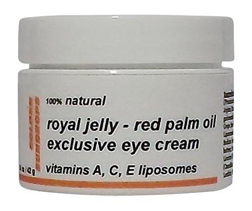 Golden Sundrops Eye Cream (1.5oz / 42g) Royal Jelly Red Palm Oil Vitamins A C E Liposomes 100% Natural Organic Exclusive Prevents Minimizes Puffiness Bags Dark Circles Fine Lines Moisturize Rejuvenate