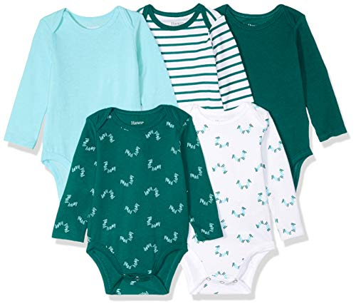 Hanes Ultimate Baby Flexy 5 Pack Long Sleeve Bodysuits, Greens 12-18 Months ()