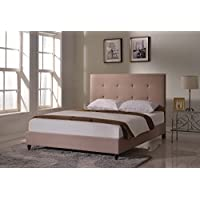 Home Life Cloth Light Brown Linen 47 Tall Headboard Platform Bed with Slats King - Complete Bed 5 Year Warranty Included