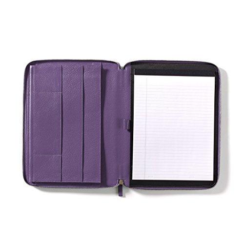 Leatherology Executive Zippered Portfolio with Interior iPad Pocket - Full Grain Leather - Grape (purple) by Leatherology